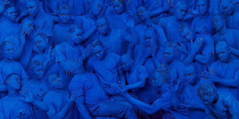 "Liu Bolin ""Blue Europe"" 2015 Courtesy Boxart, Verona"
