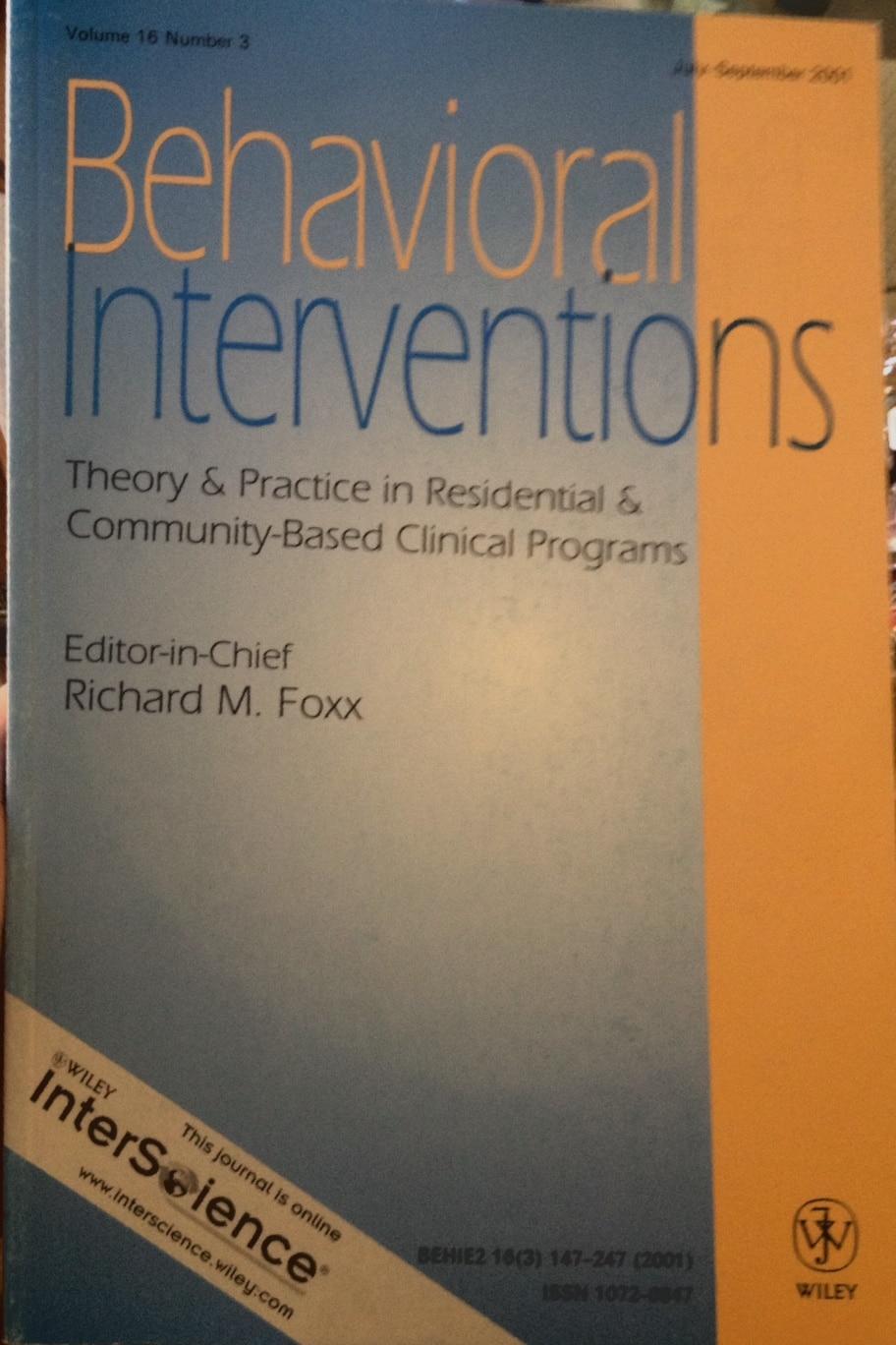 Behavioral Interventions Vol  16, N°3 Lug-sett 2001