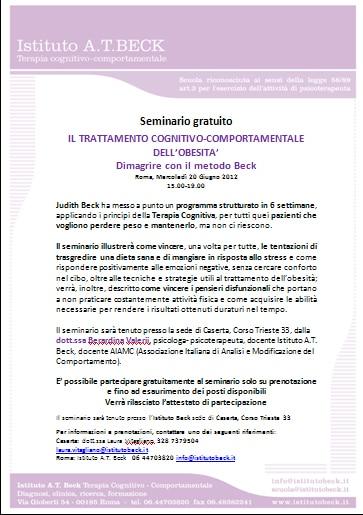 IL TRATTAMENTO COGNITIVO-COMPORTAMENTALE DELL'OBESITA'